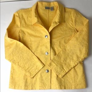 Chicos sunny yellow floral embroidered jacket sz 2